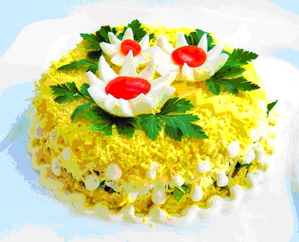 Салат из печени курицы