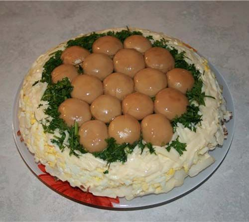 Салат лесная поляна с грибами рецепт с фото