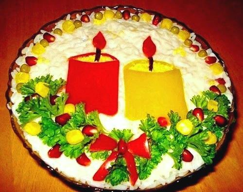 Приготовление салатов на праздничный стол из разных ингредиентов