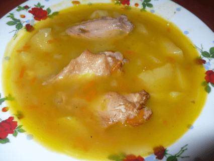 Суп-пюре гороховый с копченой курицей и грибами
