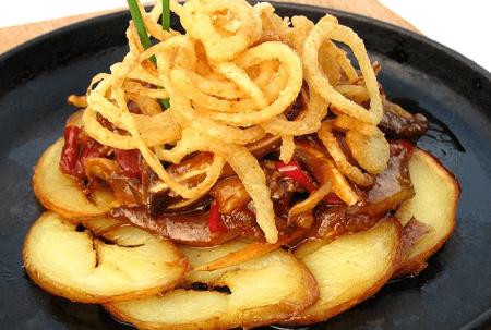 Жареные уши с картофелем