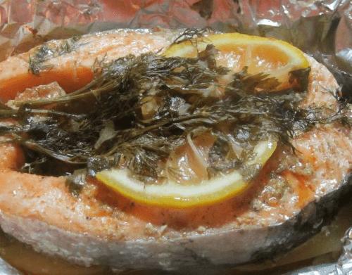 Рыбный стейк в фольге из мультиварки
