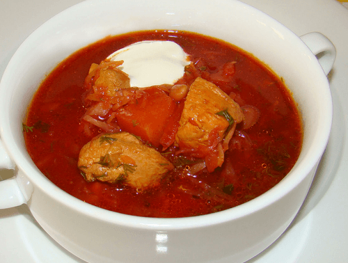 рецепт борщ с фасолью и курицей рецепт с фото