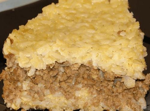 Запеканка из риса с фаршем