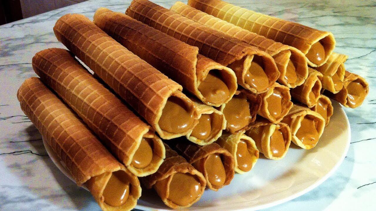 Вафельные трубочки в вафельнице рецепт хрустящие со сгущенкой