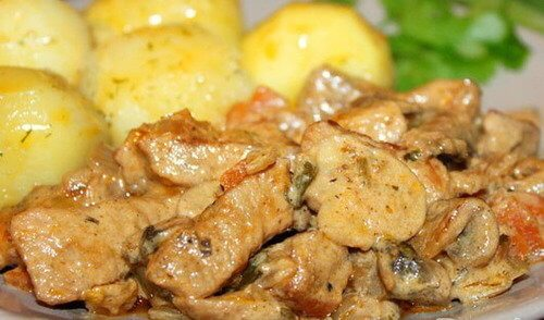 Рецепт свинины с добавлением грибов