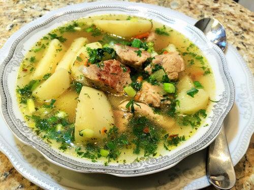 Суп с картофелем и свининой