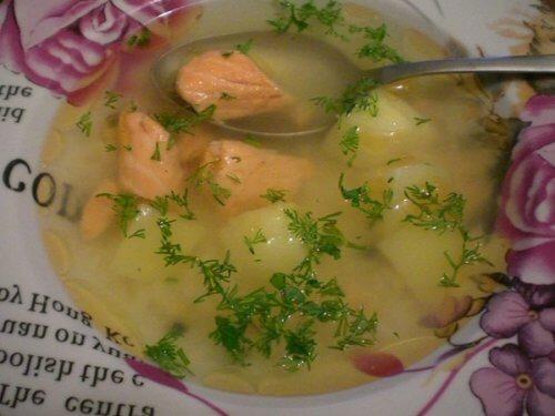 Суп с соленой семгой